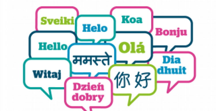 Words in speech bubbles for many different languages