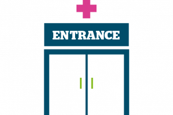 Graphic of hospital entrance