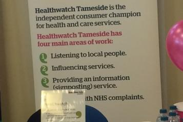 Image of Healthwatch Tameside banner at an event