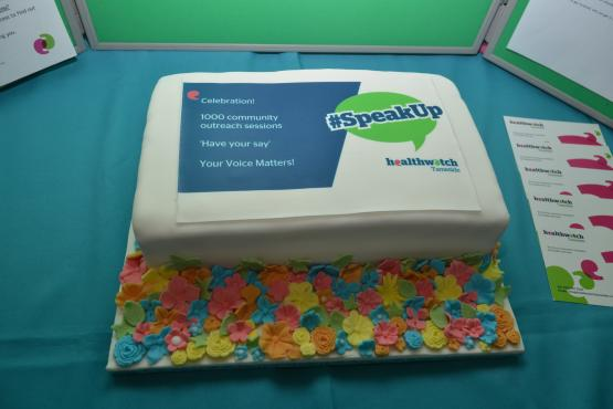 Celebration cake 1000 outreach sessions in the community