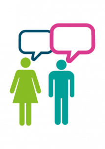 Image of 2 people talking
